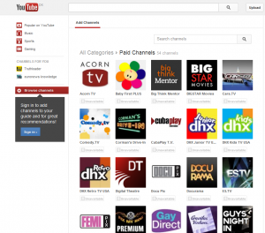 Screenshot of YouTube Paid Channels